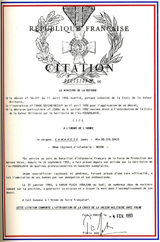 25/01/93 Sergent James CANAVESE 8ème RI