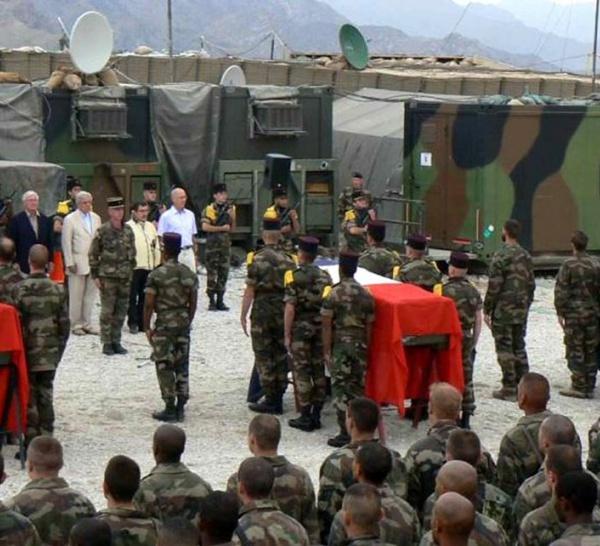 Cérémonies de levés des corps de nos camarades tombés dans la vallée d'Afghanya