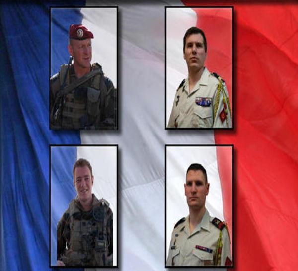 """HONNEUR à nos quatre Soldats """"Morts pour la FRANCE"""", le 9 juin 2012, en AFGHANISTAN"""