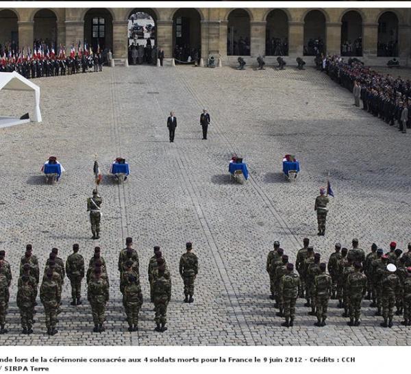 Hommage de la Nation aux quatre Soldats de France tombés en Afghanistan le 9 juin 2012